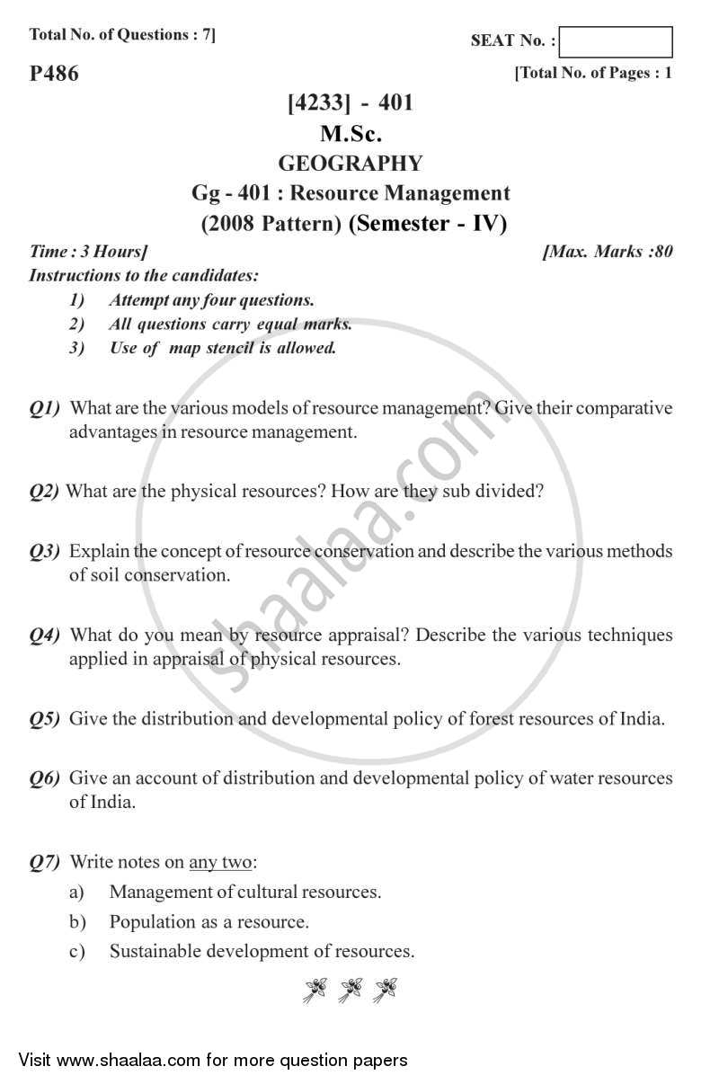 Resource Management 2012-2013 - M.Sc. - Semester 4 - University of Pune question paper with PDF download
