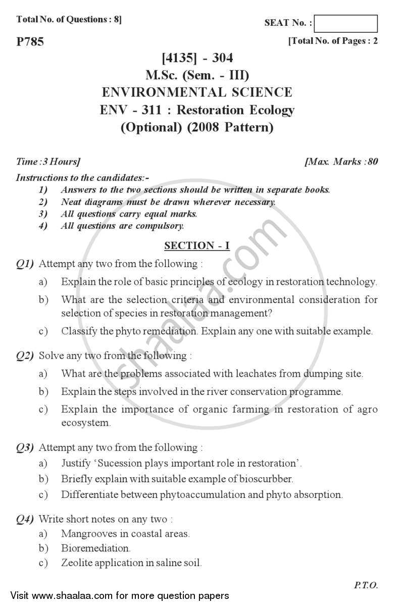 Question Paper - Restoration Ecology 2011 - 2012 - M.Sc. - Semester 3 - University of Pune