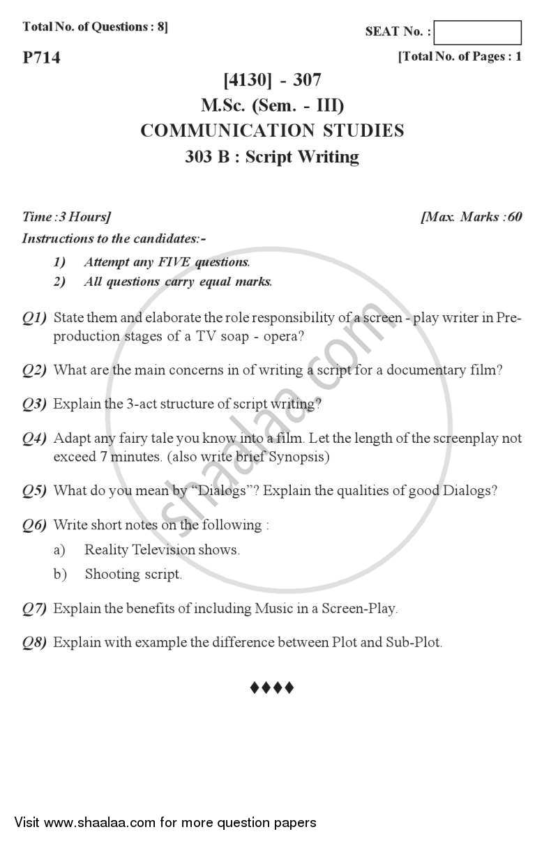 Question Paper - Script Writing 2011 - 2012 - M.Sc. - Semester 3 - University of Pune