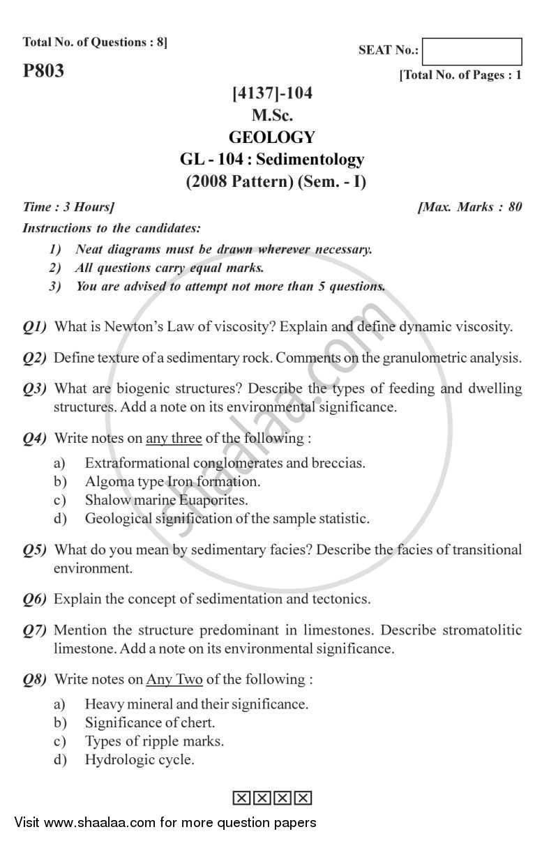 Question Paper - Sedimentology 2011 - 2012-M.Sc.-Semester 1 University of Pune