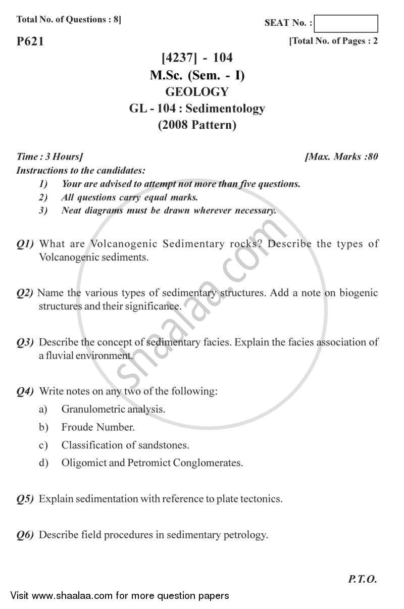 Question Paper - Sedimentology 2012 - 2013 - M.Sc. - Semester 1 - University of Pune