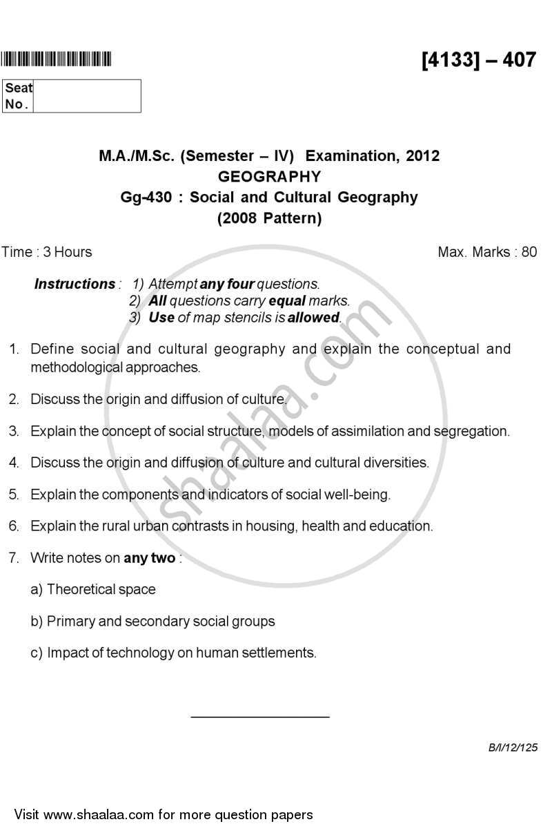 Question Paper - Social and Cultural Geography 2011-2012 - M.Sc. - Semester 4 - University of Pune with PDF download