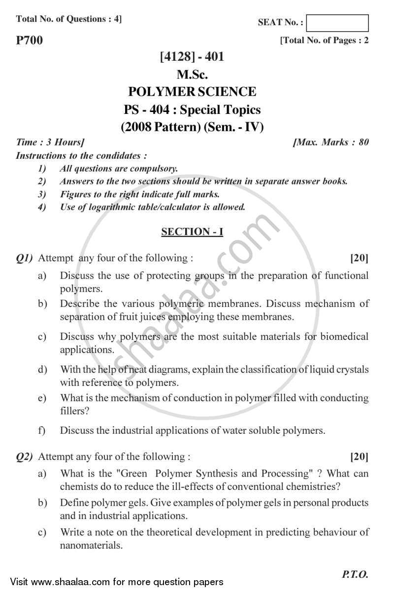 Question Paper - Special Topics 2011 - 2012 - M.Sc. - Semester 4 - University of Pune