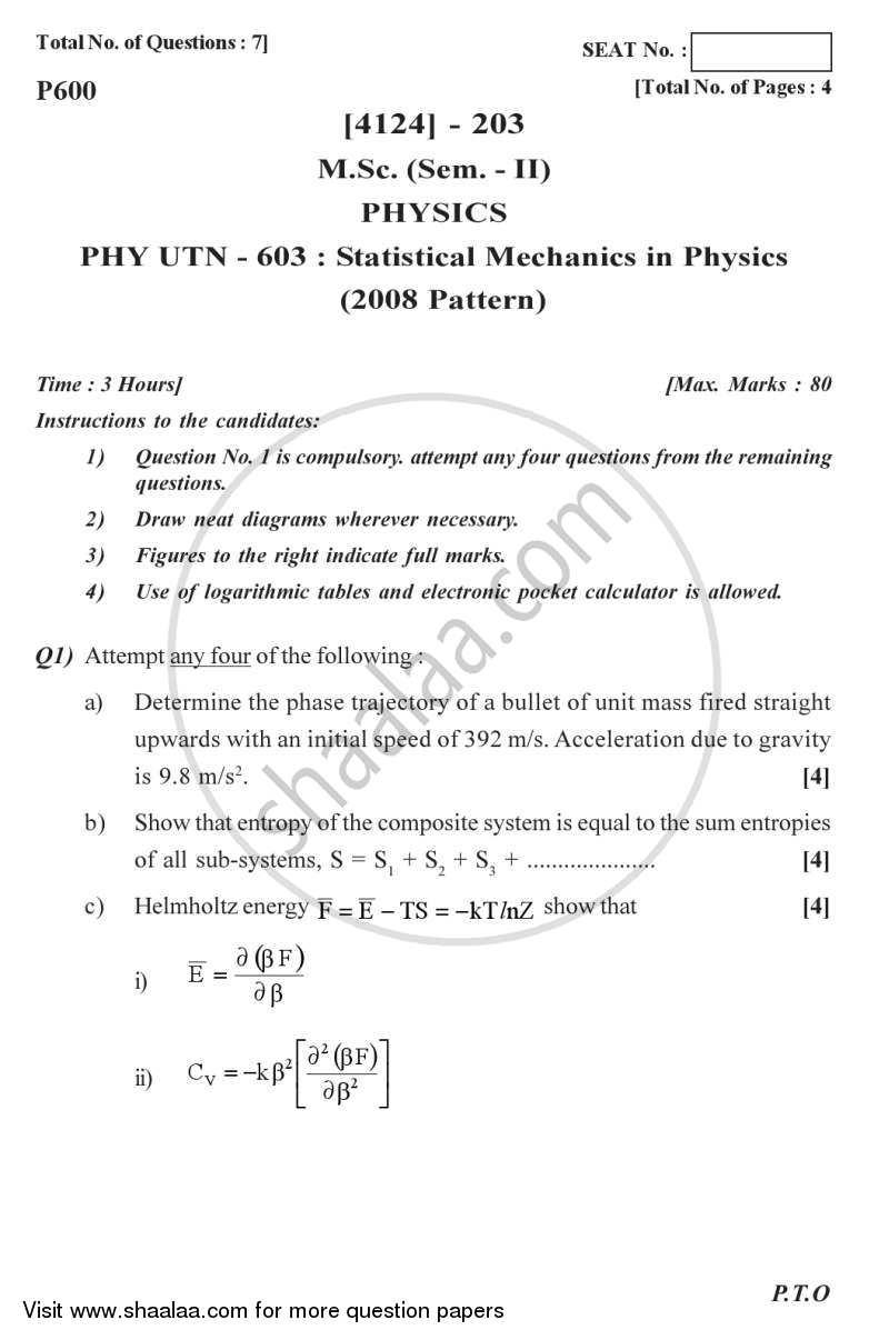 Statistical Mechanics in Physics 2011-2012 M Sc Physics