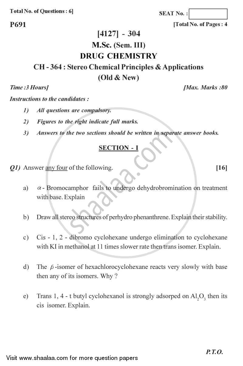 Question Paper - Stereo Chemical Principles and Applications 2011 - 2012-M.Sc.-Semester 3 University of Pune