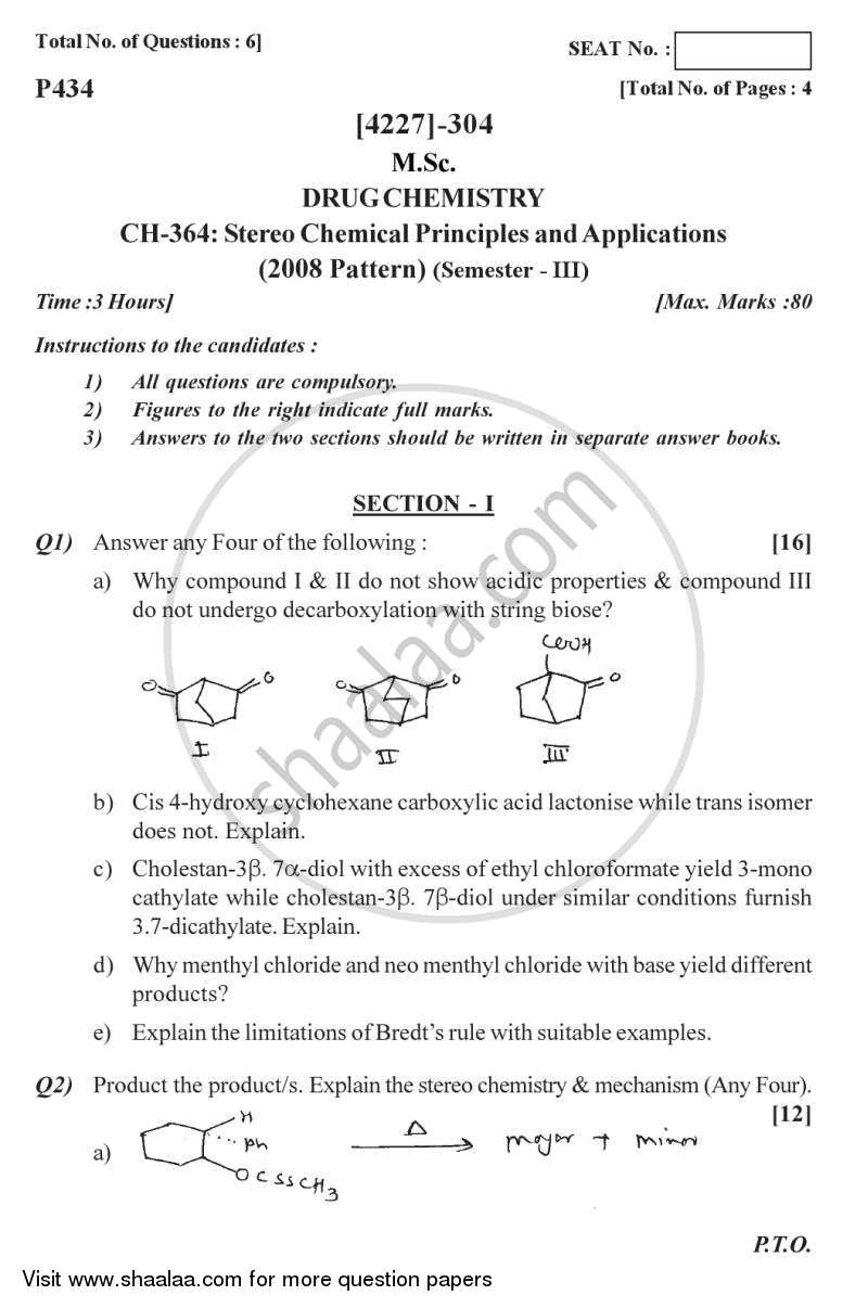 Question Paper - Stereo Chemical Principles and Applications 2012 - 2013-M.Sc.-Semester 3 University of Pune