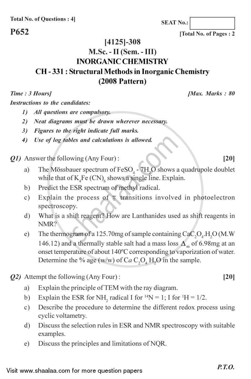 Question Paper - Structural Methods in Inorganic Chemistry 2011 - 2012 - M.Sc. - Semester 3 - University of Pune