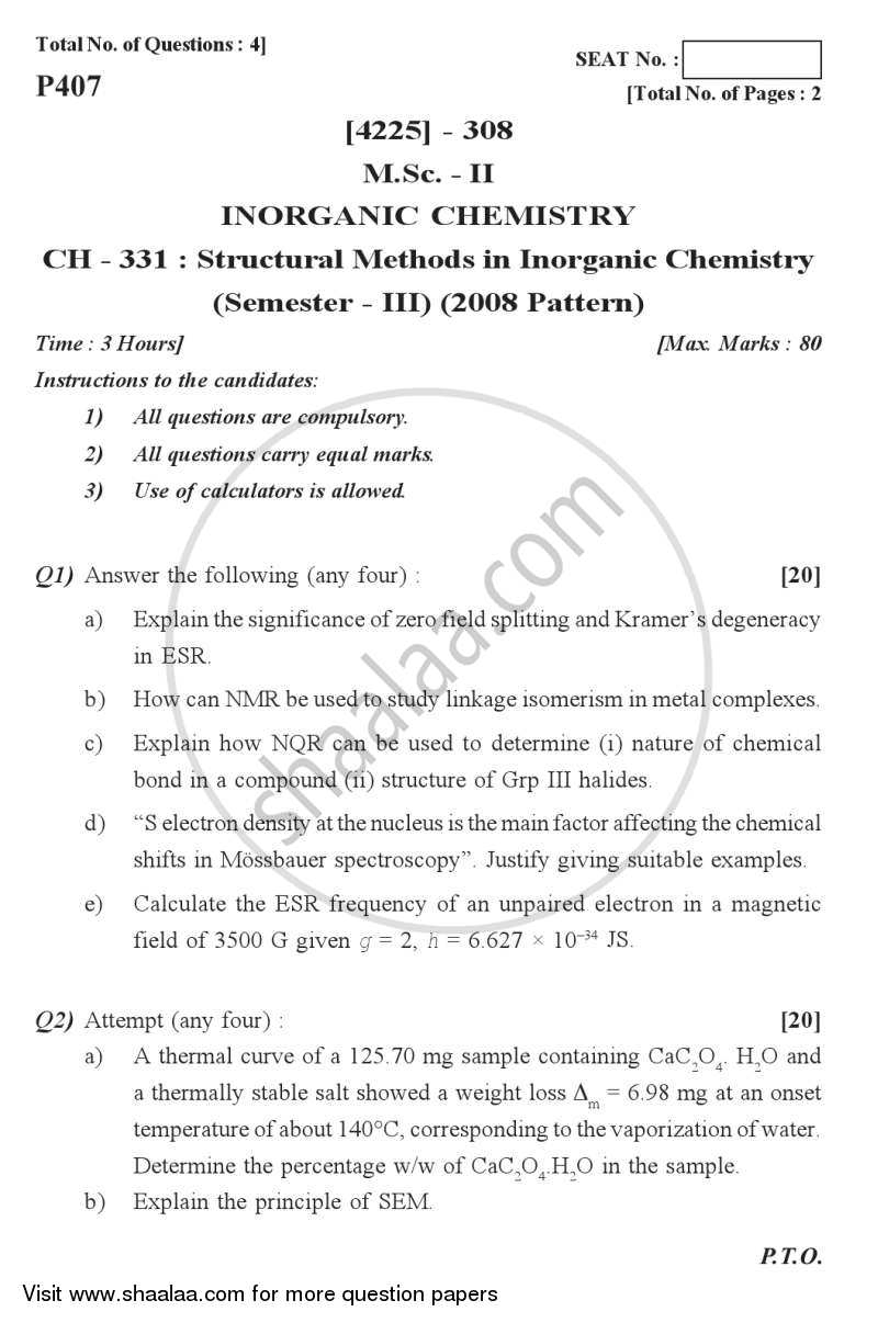 Question Paper - Structural Methods in Inorganic Chemistry 2012-2013 - M.Sc. - Semester 3 - University of Pune with PDF download