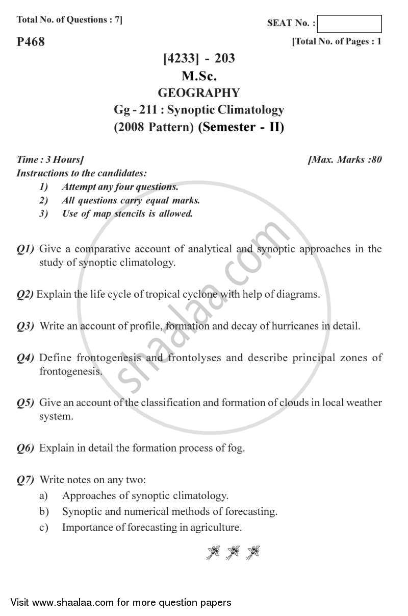 Question Paper - Synoptic Climatology 2012 - 2013 - M.Sc. - Semester 2 - University of Pune
