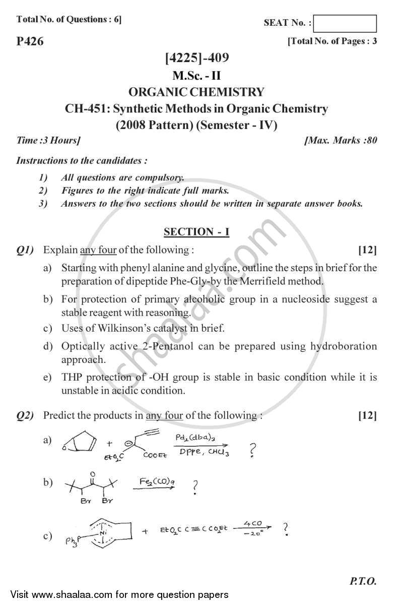 Synthetic Methods in Organic Chemistry 2012-2013 M Sc Organic