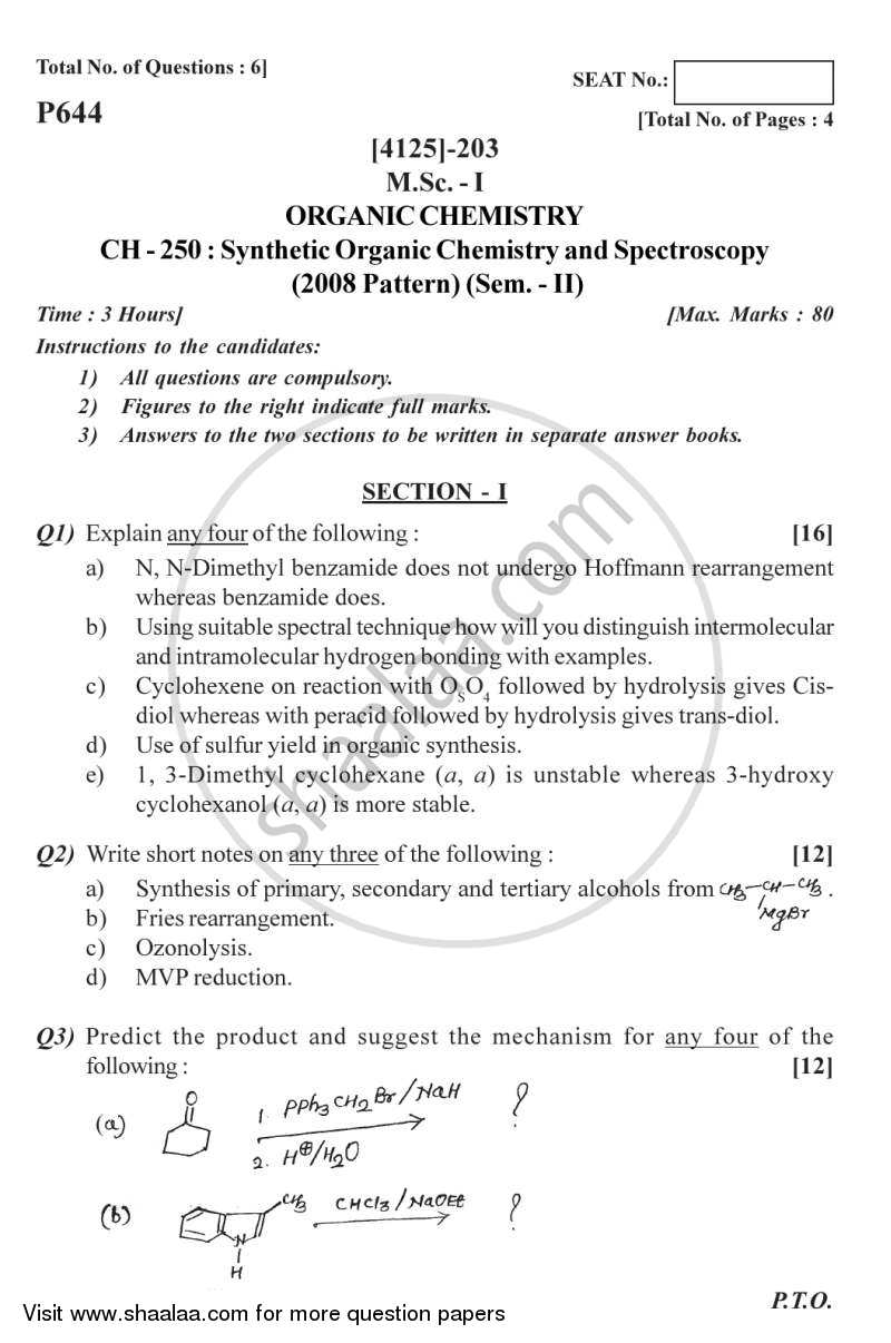 Question Paper - Synthetic Organic Chemistry and Spectroscopy 2011 - 2012 - M.Sc. - Semester 2 - University of Pune