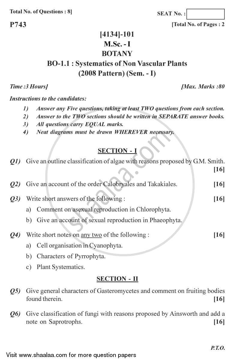 Question Paper - Systematics of Non-vascular Plants 2011 - 2012 - M.Sc. - Semester 1 - University of Pune