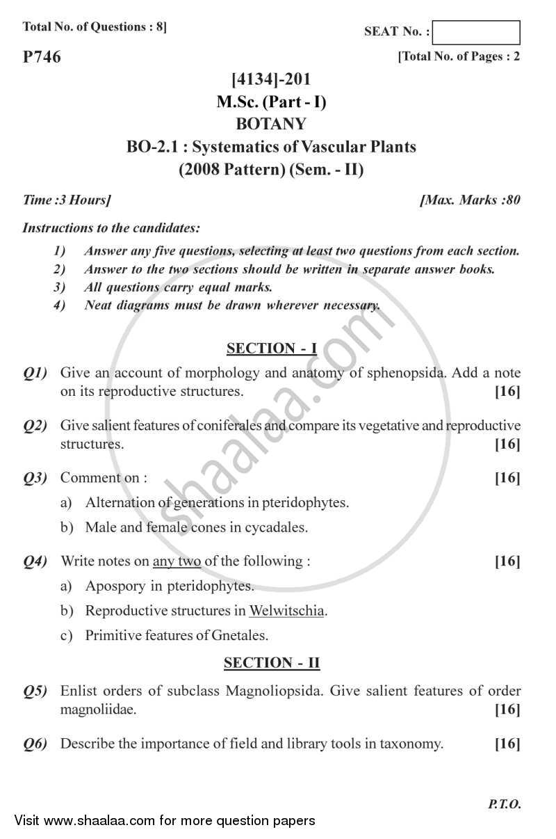 Question Paper - Systematics of Vascular Plants 2011 - 2012 - M.Sc. - Semester 2 - University of Pune
