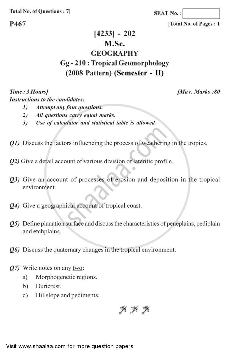 Question Paper - Tropical Geomorphology 2012 - 2013 - M.Sc. - Semester 2 - University of Pune