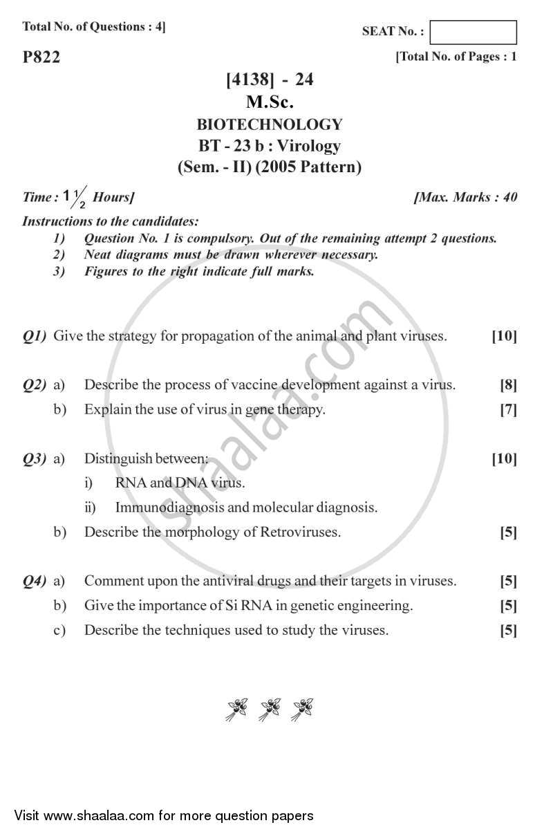 Question Paper - Virology 2011 - 2012 - M.Sc. - Semester 2 - University of Pune