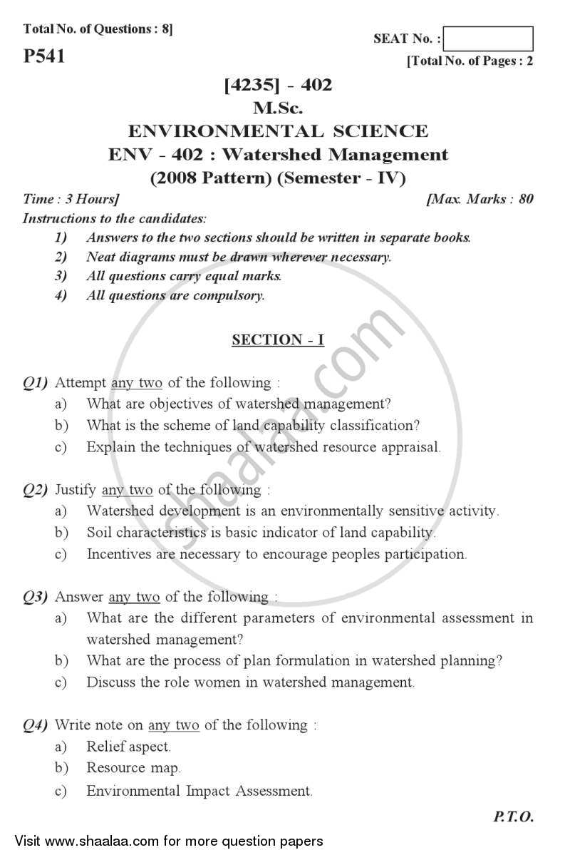 Question Paper - Watershed Management 2012 - 2013 - M.Sc. - Semester 4 - University of Pune