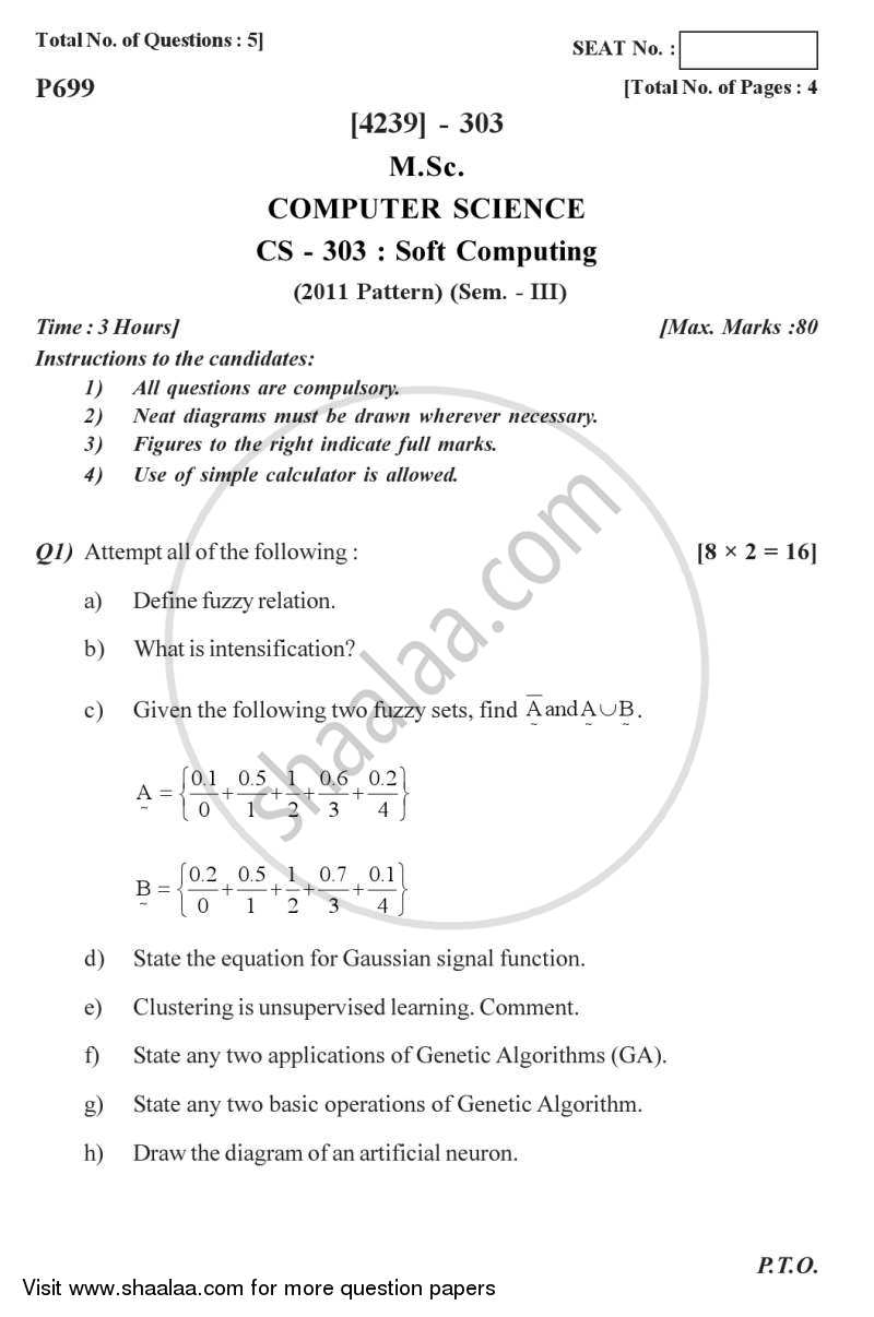 Question Paper - Soft Computing 2012 - 2013 Semester 3 - University of Pune