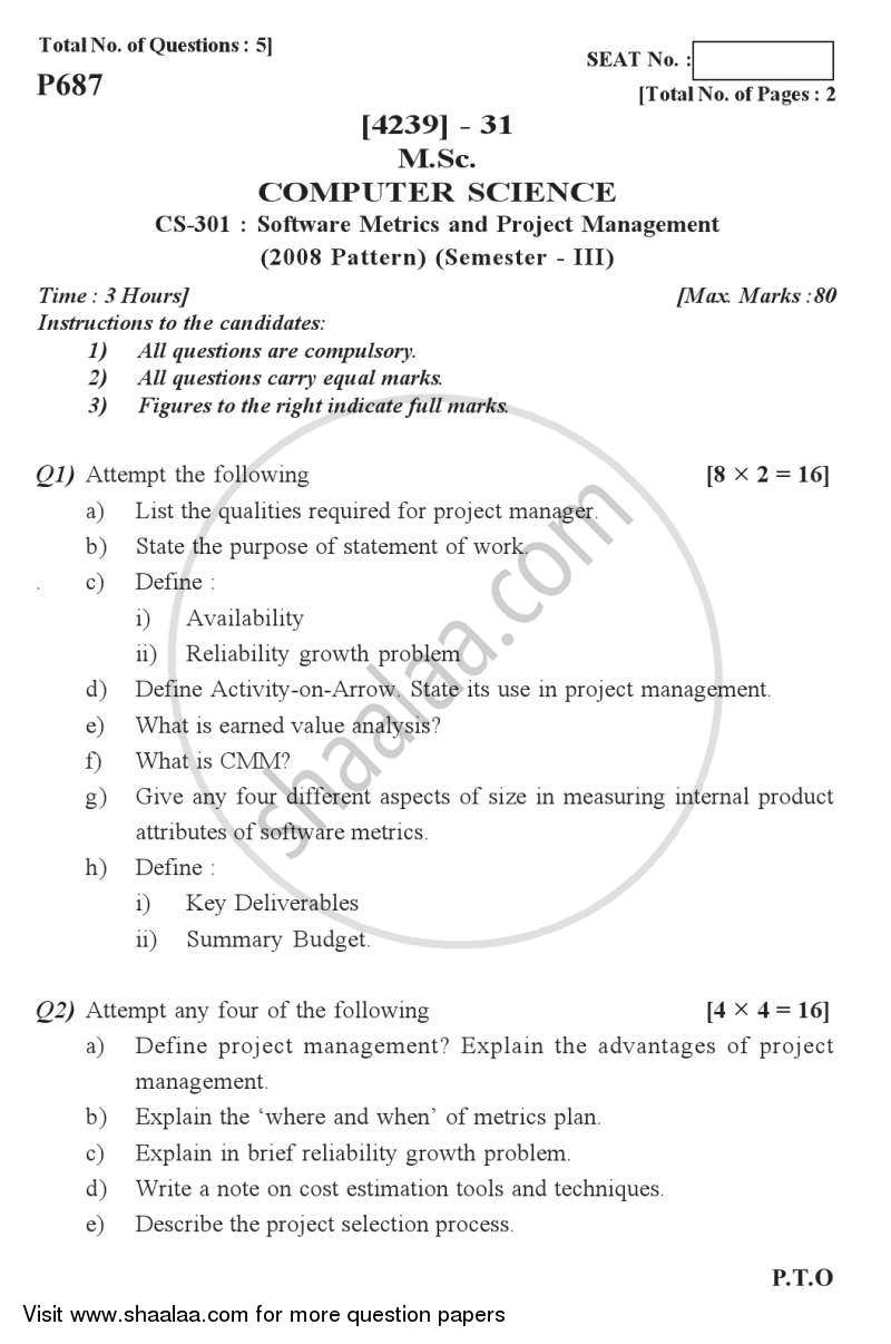 question paper software metrics and project management  question paper software metrics and project management 2012 2013 semester 3 university of