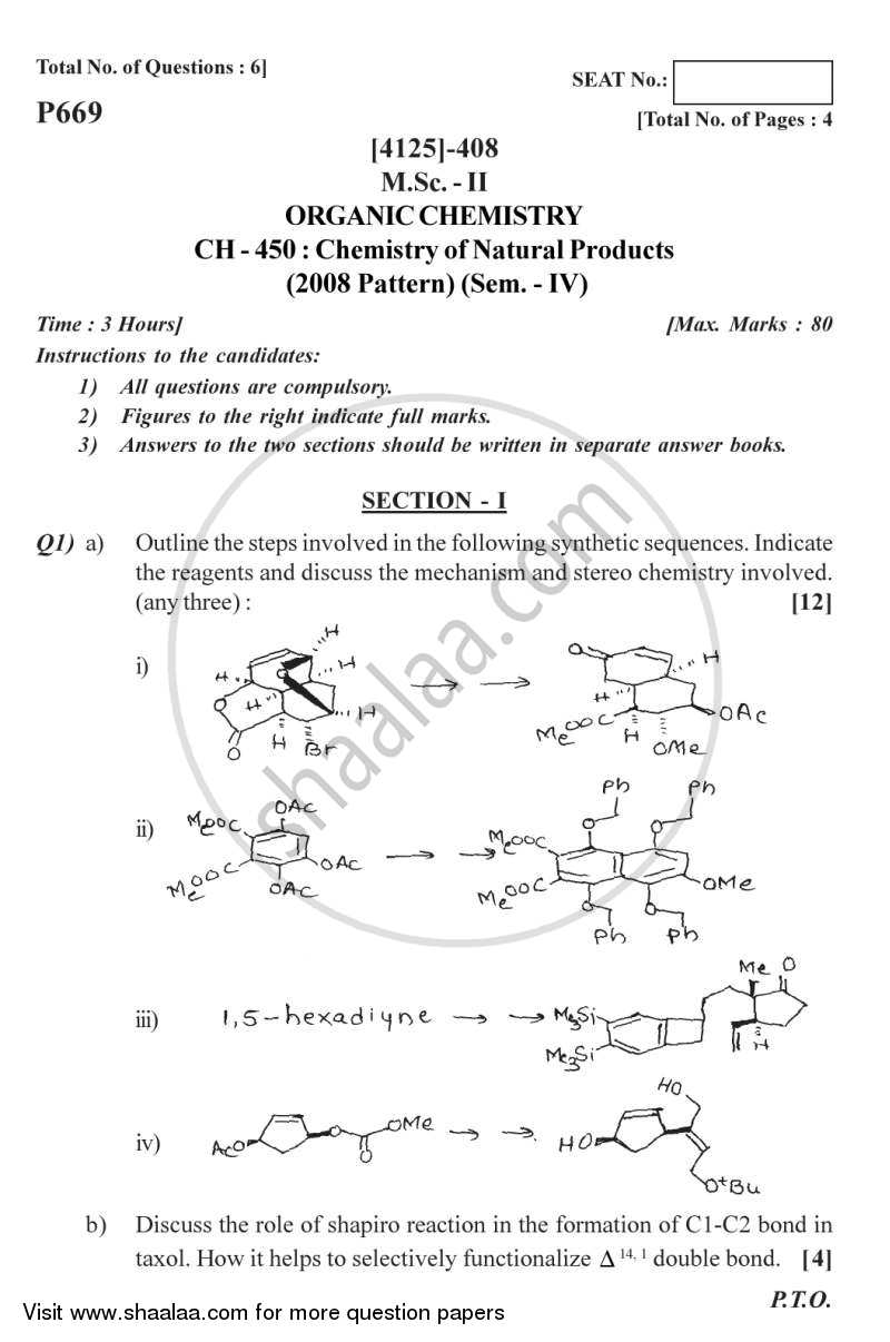 Chemistry of Natural Products 2011-2012 - M.Sc. - Semester 4 - University of Pune question paper with PDF download