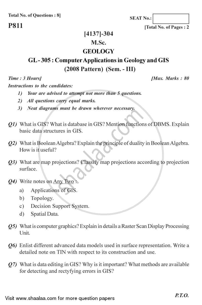 Computer Applications in Geology and GIS 2011-2012 - M.Sc. - Semester 3 - University of Pune question paper with PDF download