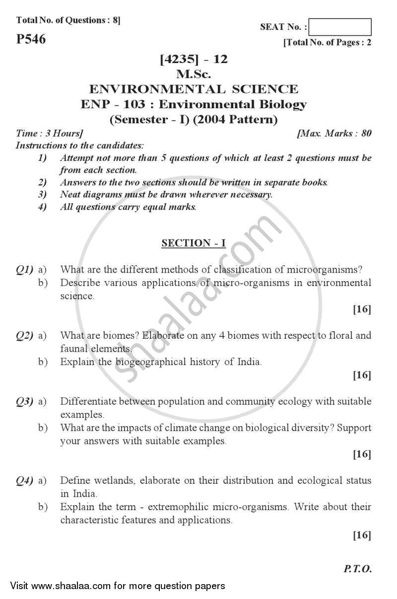 Environmental Biology 2012-2013 - M.Sc. - Semester 1 - University of Pune question paper with PDF download
