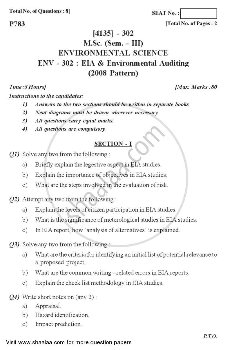 Environmental Impact Analysis (EIA) and Environmental Auditing 2011-2012 - M.Sc. - Semester 3 - University of Pune question paper with PDF download