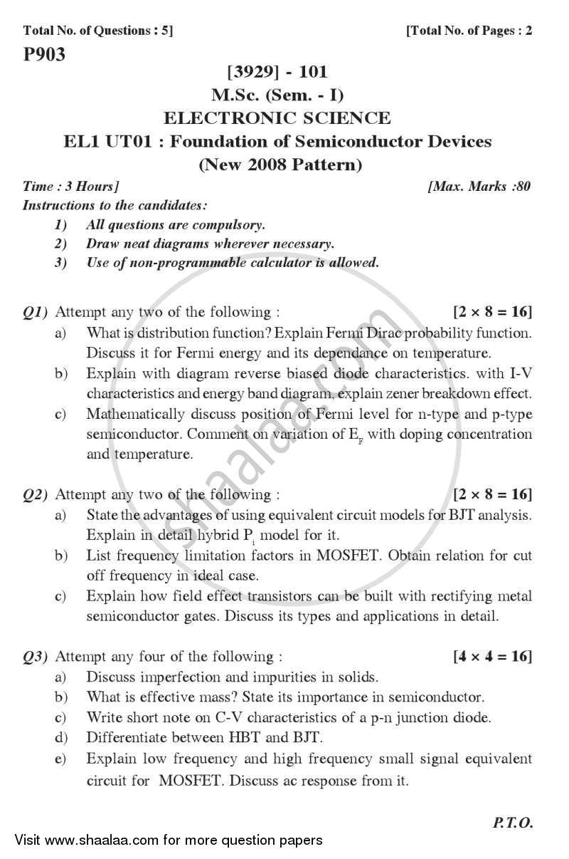 Foundation of Semiconductor Devices 2011-2012 - M.Sc. - Semester 1 - University of Pune question paper with PDF download