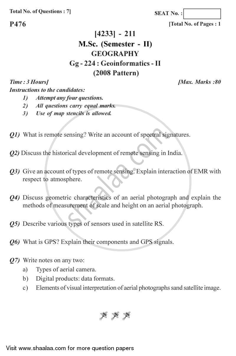 Geo-informatics 2 2012-2013 - M.Sc. - Semester 2 - University of Pune question paper with PDF download