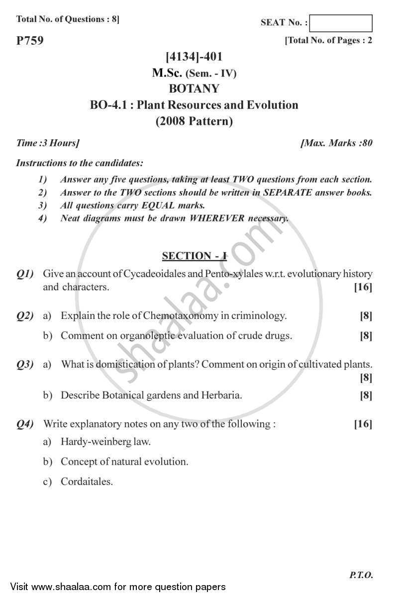 Plant Resource and Evolution 2011-2012 - M.Sc. - Semester 4 - University of Pune question paper with PDF download