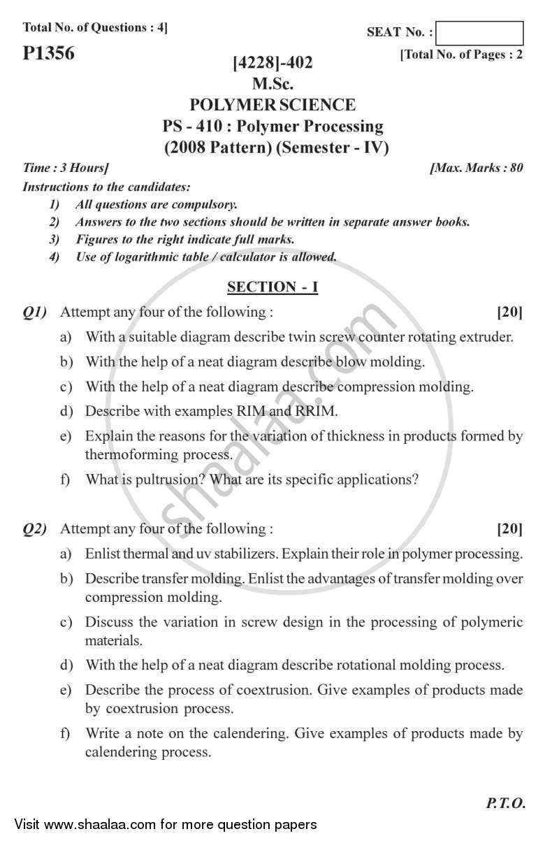 Polymer Processing 2012-2013 - M.Sc. - Semester 4 - University of Pune question paper with PDF download